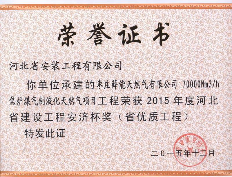 枣庄薛能天然气有限公司——2015省优