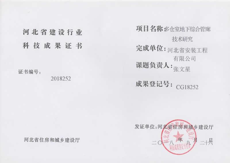 CG18252多仓室地下综合管廊技术研究